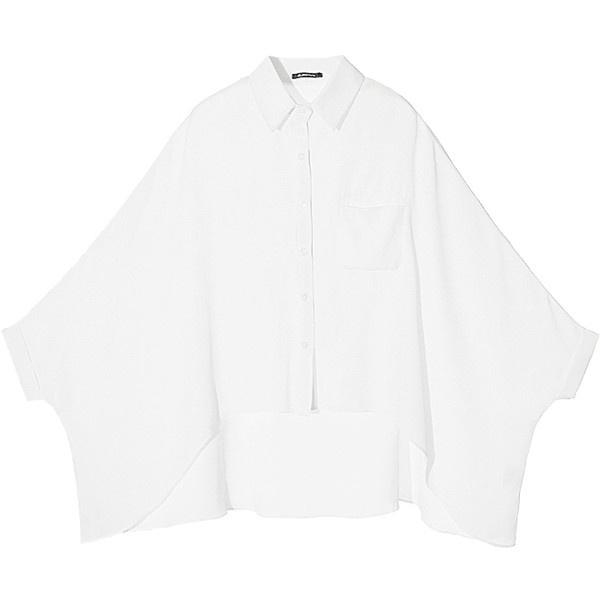 [US$58.99] - White Lapel Half Sleeve Batwing Loose Chiffon Shirt :... ($57) via Polyvore