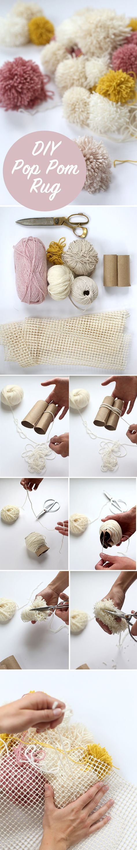 DIY Easy Pom Pom Rug   Cozy DIY Projects to Keep You Warm This Winter