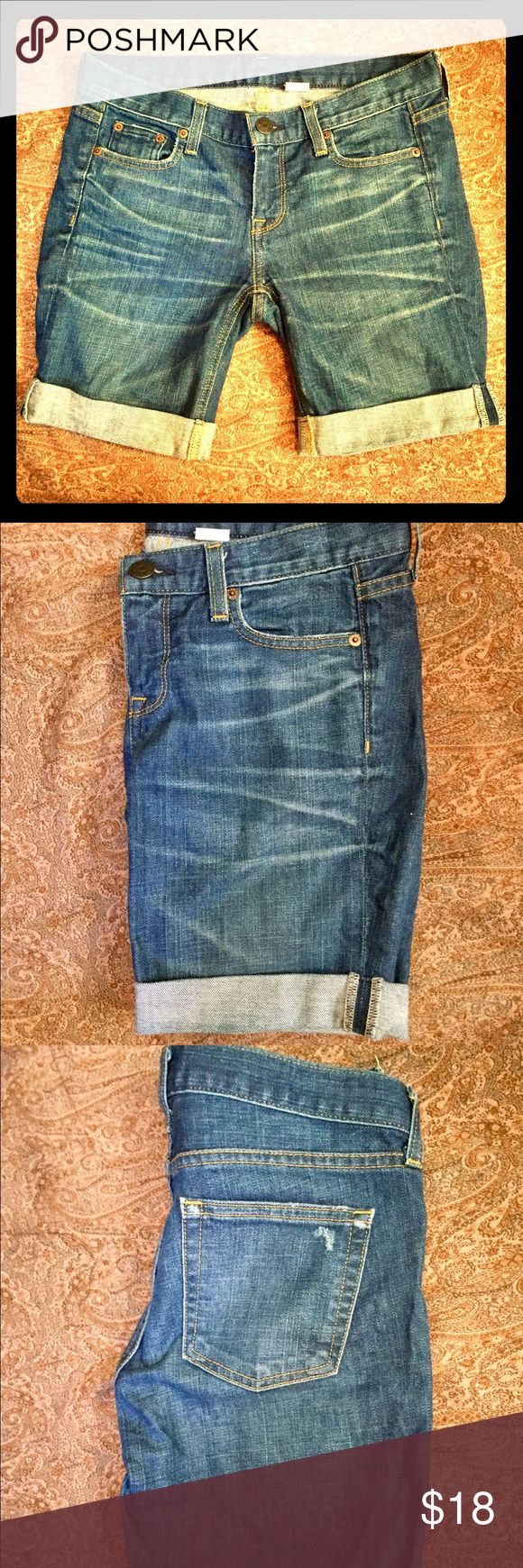 💗J Crew Cuffed Denim Bermuda Shorts, EUC, 25 Well-made J Crew shorts, cuffed, bermuda-style, in excellent condition–#flawless! Just too big for me now. Indigo, medium blue wash.  Size 25 – XS.  Let me know if you have any questions! Bundle for up to 40% off plus combined shipping~  #jcrew #jcrew25 #jcrew0 #jcrewxs #bermudashorts #summer #spring #fashionfun #stylestaple J. Crew Shorts