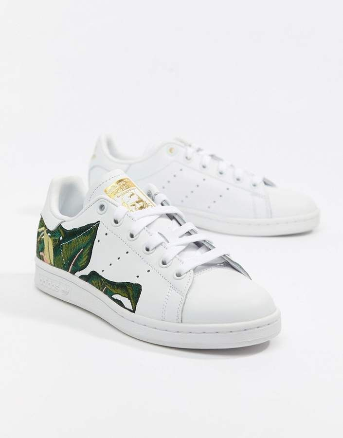 7ffd8a569 adidas Originals Stan Smith Sneakers In White With Embroidery ...
