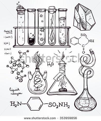 Hand drawn science beautiful vintage lab icons sketch set