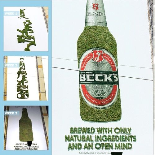 Green wash?    Beck's Brews its Brand with Eco-Friendly Promo  What makes a great beer? The folks at Beck's believe that beer should be created with real ingredients by people with open minds. To spread this message and to set the Beck's brand apart from competitors, the beer company built Europe's largest moss graffiti over a four-week period. Each week, Beck's added a new brand element — including young, free, and open-minded — to the eco-friendly promotional product.