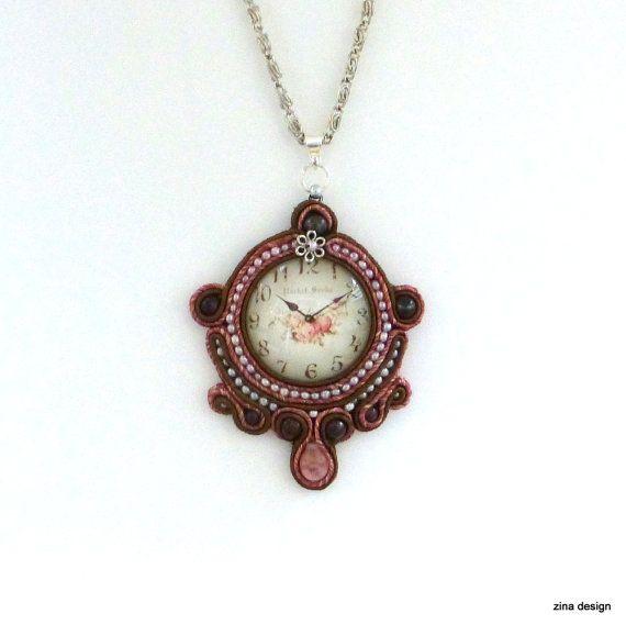 Soutache Necklace, Soutache Pendant, Pendant with Clock and Roses, Brown Necklace, Brown Soutache