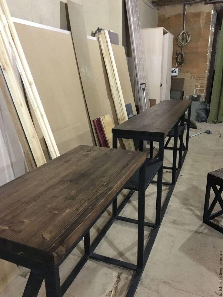 Купить Стол BARBER в стиле loft - коричневый, консоль, мебель из металла, loft, мебель лофт