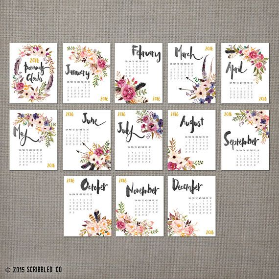 2016 Monthly Wall Calendar, 2016 Calendar, Watercolor Flower , Wall Calendar, Gift, Gifts for Her  (cal0001)