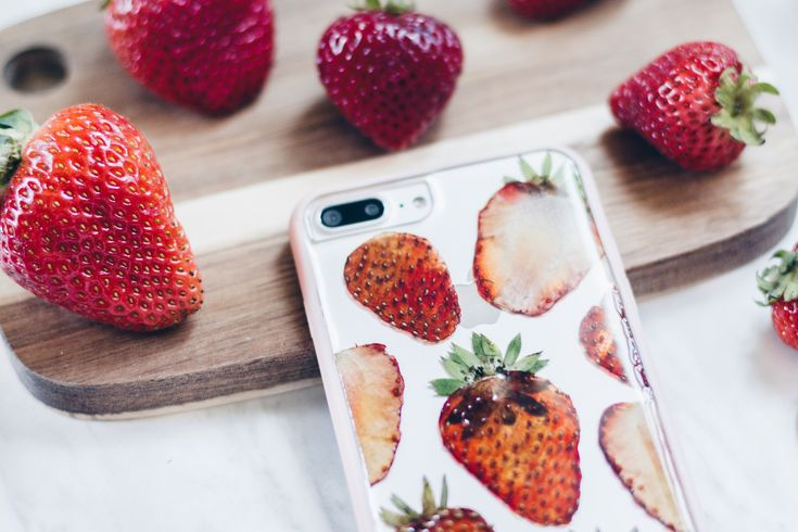 Strawberry Summer  Handmade Pressed Flower iPhone Bumper Cases for iPhone 7 Plus or iPhone 8 Plus Clear bumper case handmade with real pressed strawberries