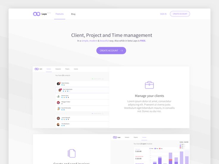 Layout for getlaps.com landing page