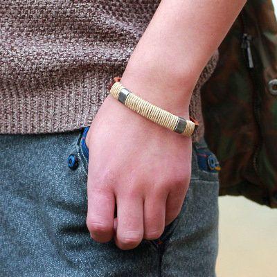 Vintage Multilayer Braided Linen Leather Men Bracelet