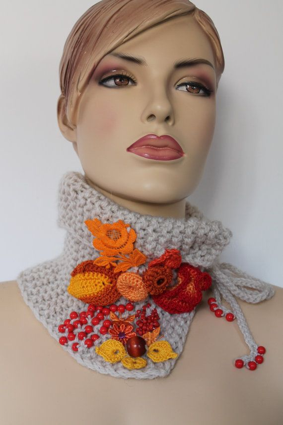 Inspiration ~ simple cowl with freeform crochet elements.{Hand knitted and Crocheted  Off White Yellow Orange by levintovich, etsy}