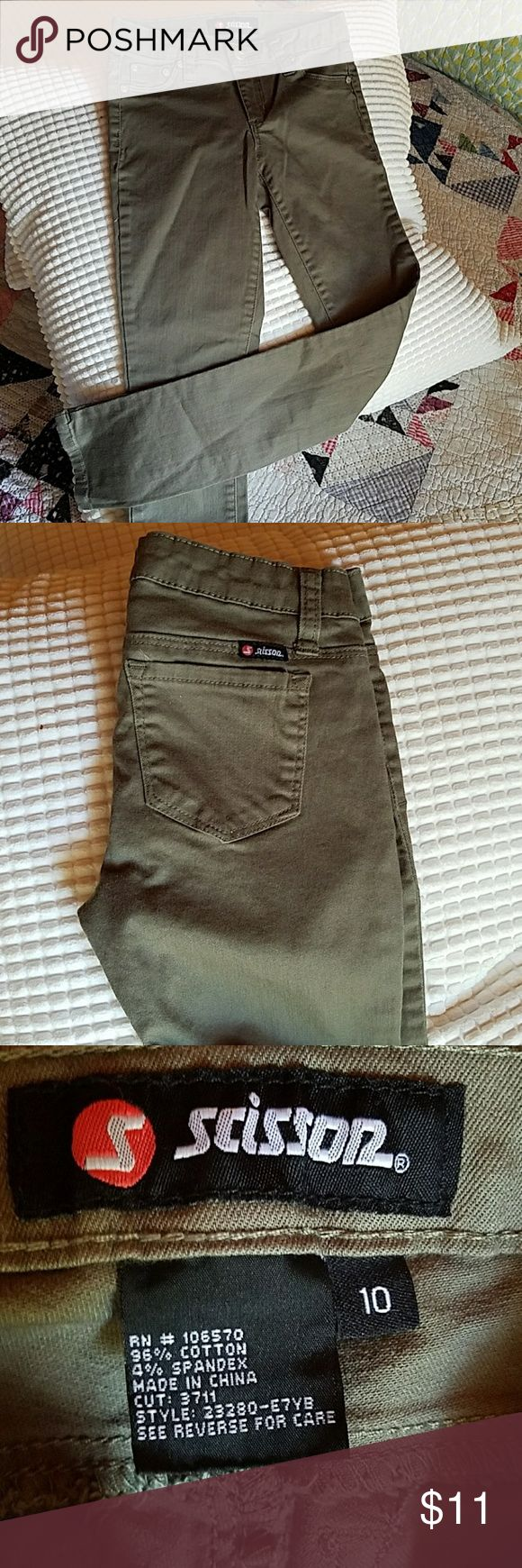Girls Scissor khaki green jeans Never worn, size 10 scissor Bottoms Casual