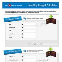 BMO Monthly Budget Calculator - To help kids stay in control of their monthly income and expenses.