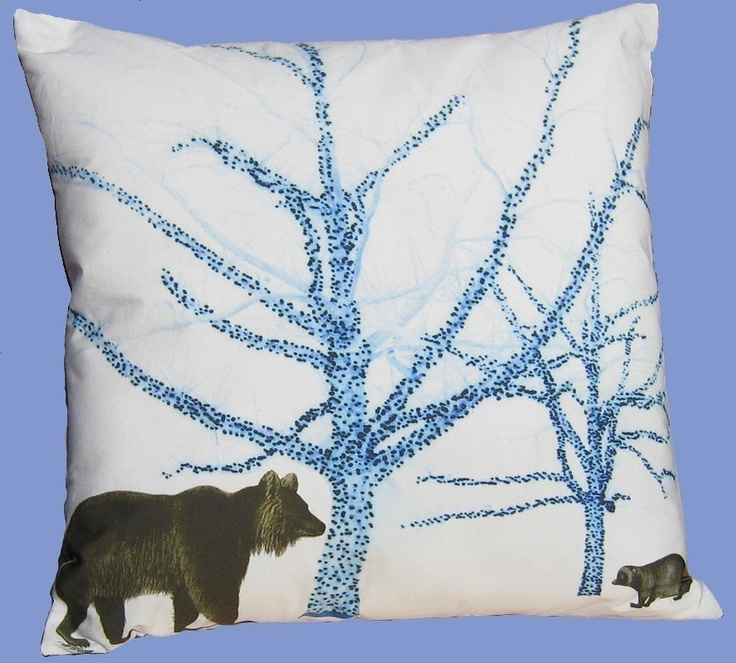 Bear Throw Pillow Covers : BEAR AND BADGER BLUE TREES 16 INCH PILLOW COVER Blue Pinterest Trees, Throw pillows and ...