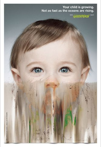"""Your child is growing. Not as fast as the ocean are rising."" for Greenpeace by AlmapBBDO. #global #warming #ocean #child #good #ad #greenpeace"