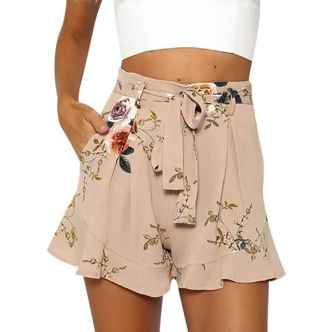 5aef3f9a6 New Summer Women Shorts Fashion Floral Printed Loose Short Casual Female  Belt Lace Up Pockets Boho Shorts Trousers Boho