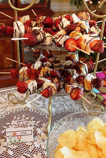 strawberries, angel food cake and chocolate kabobs.
