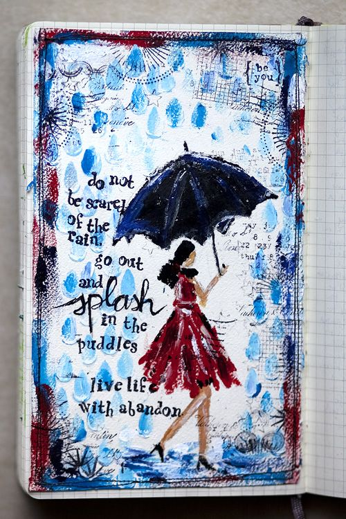 """Karen Grunberg using the Balzer Designs """"Rain"""" stencil: Journal Ideas, Art Journal Pages, Journal Inspiration, Art Journals, Journals Journaling, Live Life, Art Journaling Inspiration, Journals Collages Art"""