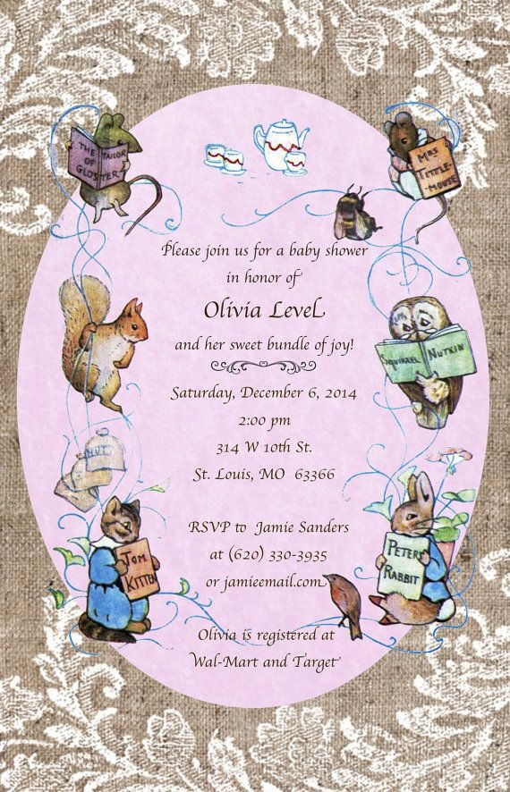 8 best Beatrix Potter Little Rabbit Tea Party images – Beatrix Potter Birthday Invitations