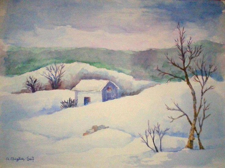 R.Biglia - Neve di collina - acquerello