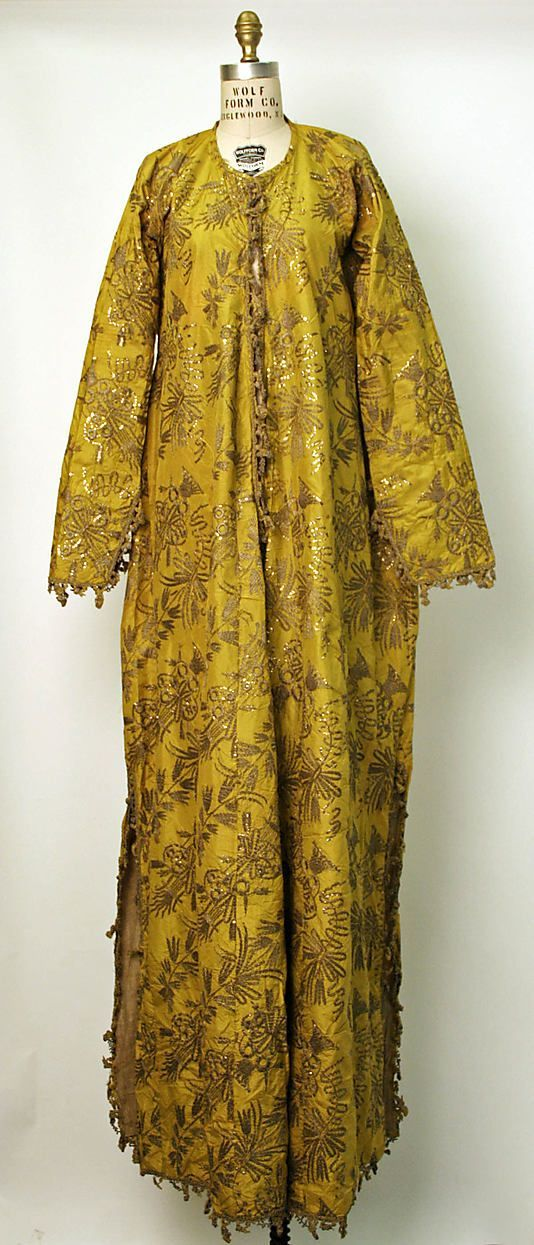 18th century turkish costume | Turkish Robe, 18th century–19th century, silk, metallic, cotton (Pharyah)