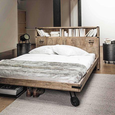Solid mango wood headboard with storage W 140cm Manufacture   Maisons du Monde