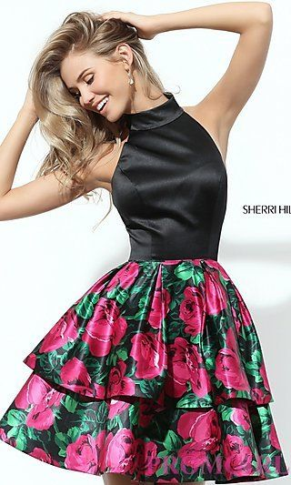 Print Short Sherri Hill Homecoming Dress at PromGirl.com