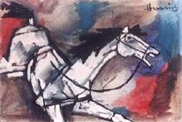 a horse painting of M.F.Hussain