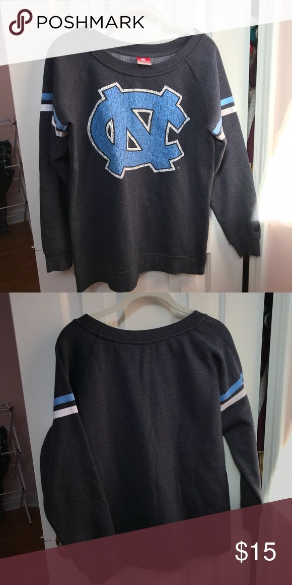 UNC Sweatshirt Blue/grey with UNC logo, fleece inside, great condition. Tops Sweatshirts & Hoodies