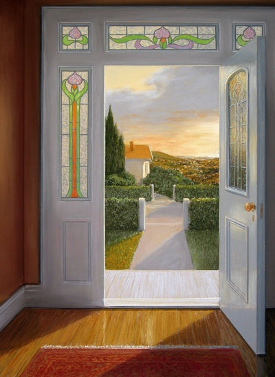 Evening Door by Peter Siddell, NZ. Pastel on paper (2002). Private collection.