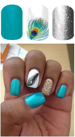 #Love #AquamarineJN #ShakeYourTailFeatherJN #DiamondDustSparkleJN #Peacock #NailArt #NailDesign #Manicure #Nails Another look I really love that is so easy to do with Jamberry Nail Wraps!! Check out more animal prints at jamminw.jen.jamberrynails.net!! #Nailwraps
