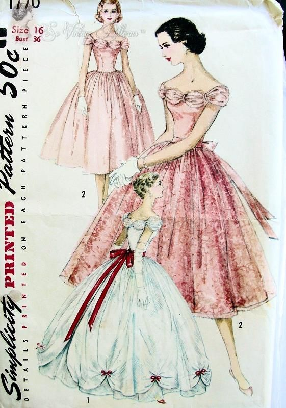 1950s Dreamy Formal Evening Dress Pattern Strapless Boned Bodice, Very Full Skirt In 2 Lengths Detachable Overskirt Perfect Gala Evening,Prom, Wedding , Bridesmaid Dress Simplicity 1770 Vintage Sewing Pattern Bust 38