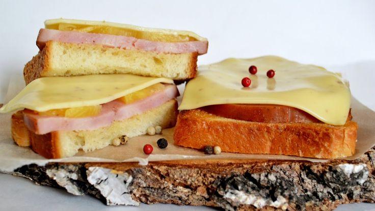 БУТЕРБРОДЫ ГАВАЙСКИЕ. Быстрый бутерброд. Рецепт бутерброда с ветчиной.