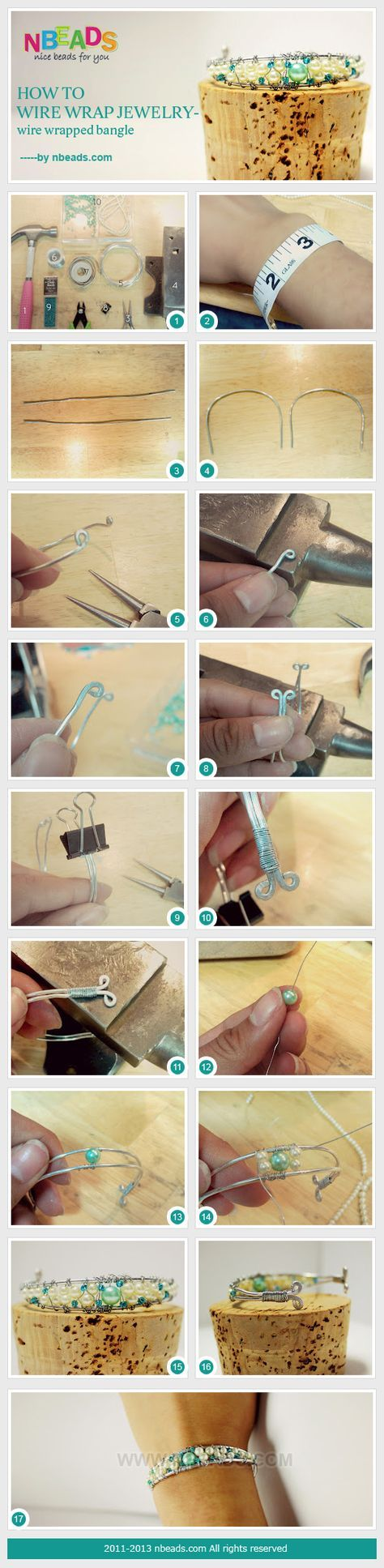 how to wire wrap jewelry-wire wrapped bangle
