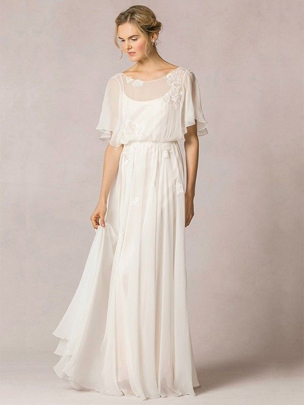 A-Line/Princess Scoop Ruffles Sweep/Brush Train Chiffon 1/2 Sleeves Wedding Dres…