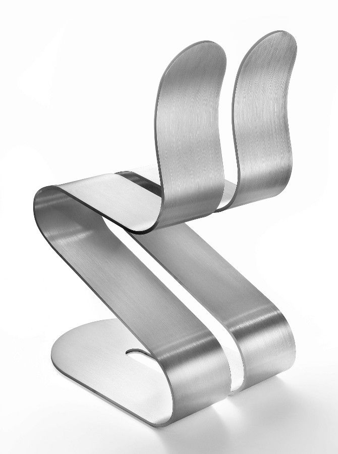Ergonomic stackable #aluminium #chair FLUID RIBBON by Lamberti Decor | #design Michael D'Amato