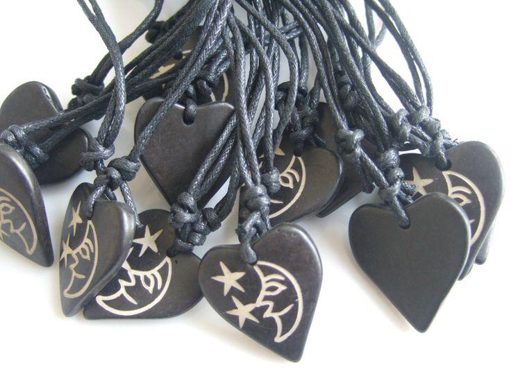 12 шт. тибет як кость резные луна и пентаграмма пентакль в форме сердца ожерелье регулируемая