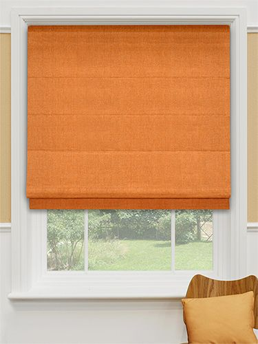Bright, warm and energising, this lovely orange roman blind is guaranteed to give your home a cosy feel. #colourful #roman #blinds