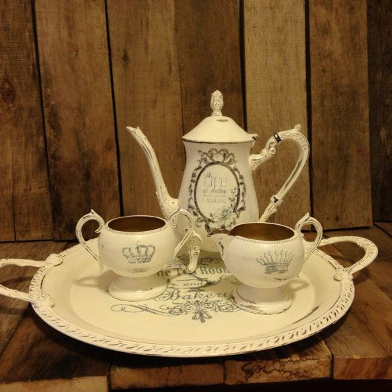 Tea set and server by CestChicDesigns on Etsy