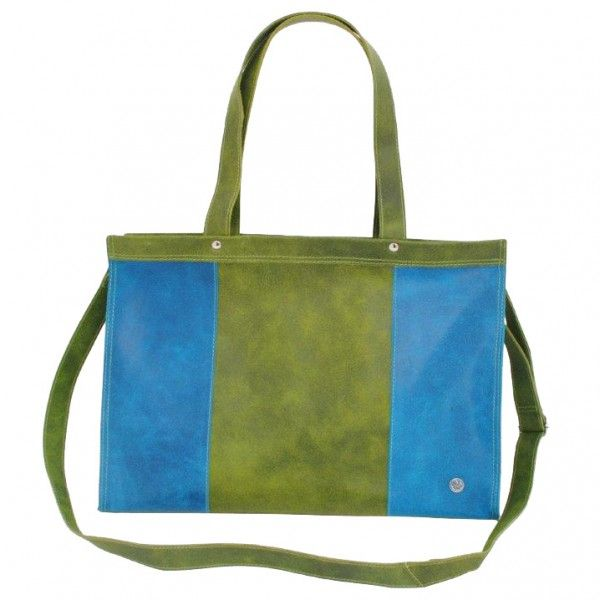 Elegante leather laptopbag in turquoise-green