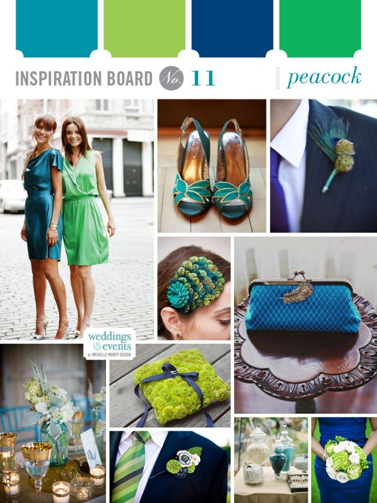 Inspiration board 11 - ooh i like how modern this is. I can see the guys with the green and girls in cobalt blue!