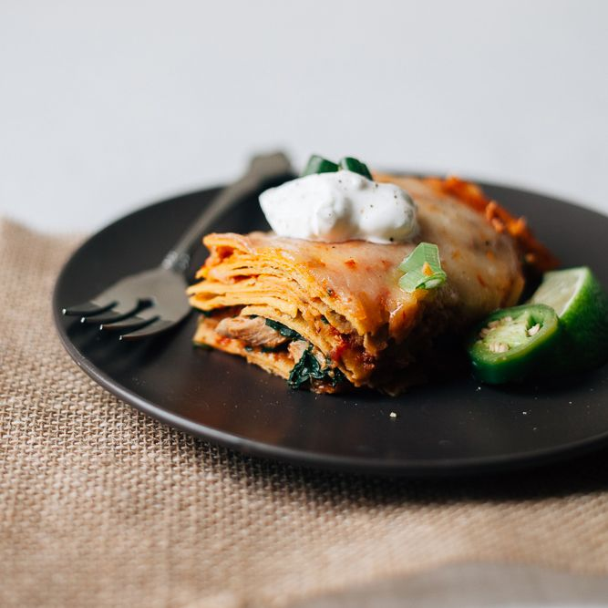 Enchilada Casserole with Pulled Chicken and Spinach | Food & Wine