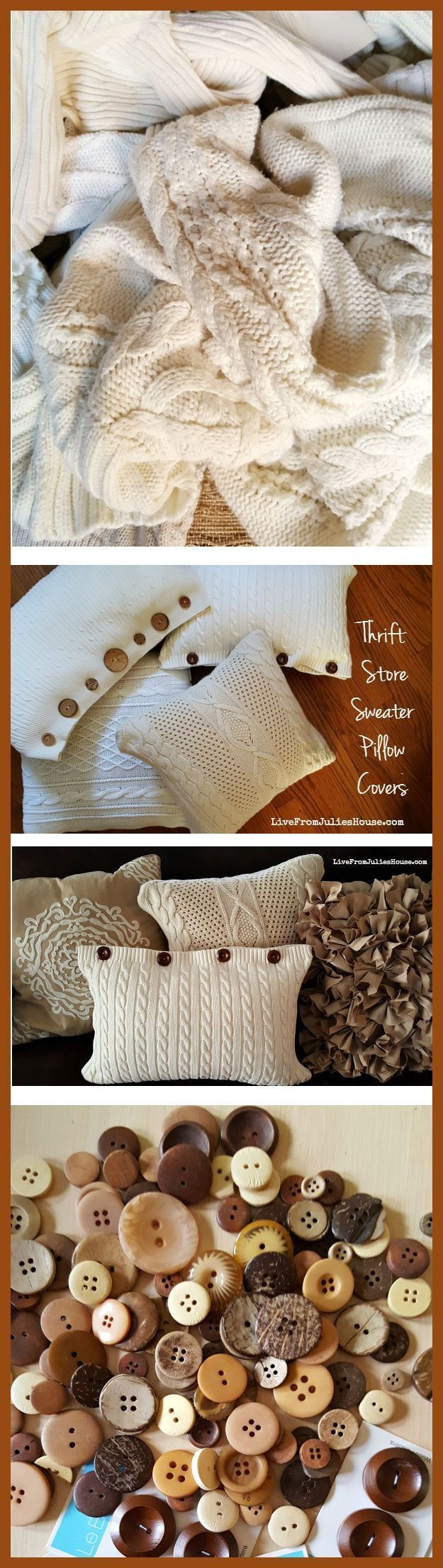 Cover your tired old throw pillows with thrift store sweaters for a cozy, hand knit look - it's EASY. #thriftstorefurniture