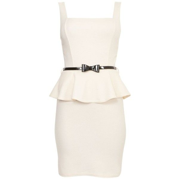 Cream Textured Square Neck Peplum Dress ($26) ❤ liked on Polyvore featuring dresses, vestidos, robe, cream, peplum cocktail dress, going out dresses, belted dress, night out dresses and white dress