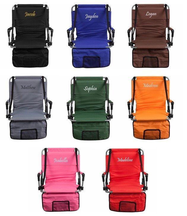 Personalized Stadium Seat - Foldable Stadium chair by ComfyBumzShop on Etsy https://www.etsy.com/listing/254007406/personalized-stadium-seat-foldable