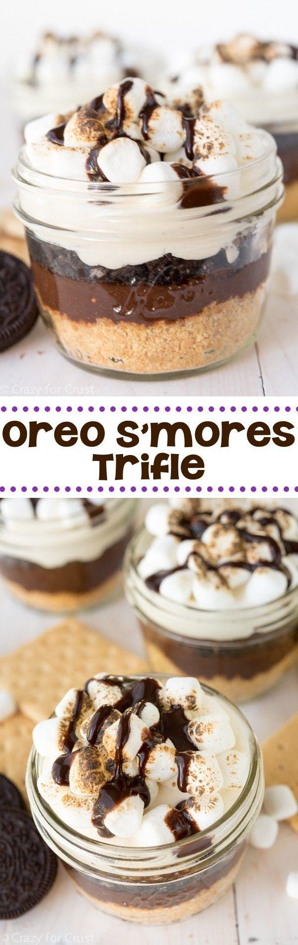 No-Bake Oreo S'mores Trifle ~ Graham cracker crust, chocolate pudding, crushed Oreos, and toasted mini marshmallows!