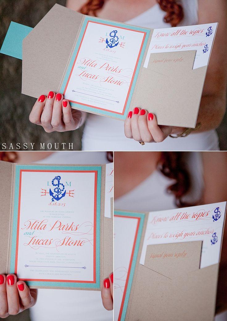 Avantgarde Designs - Seaside Ocean Wedding Invitation, Menu, Sign The Little Mermaid - Princess Bride Wedding - Sassy Mouth