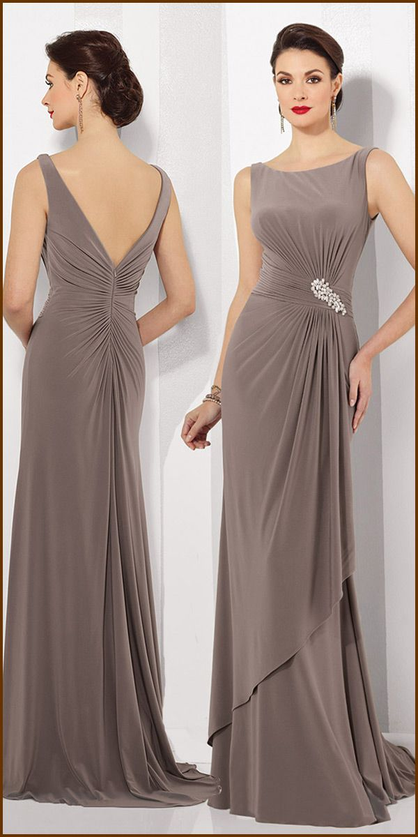 [99.89] Attractive Spandex Scoop Neckline Sheath Mother Of The Bride Dresses With Beadings