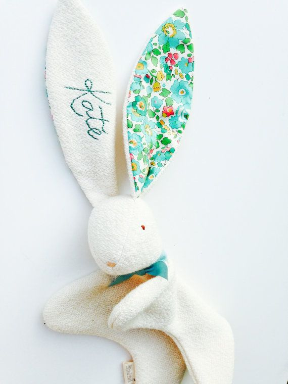 Soft and sweet bunny made with fluffy certified organic cotton terry and Liberty of London cotton floral print ears. This bunny has a