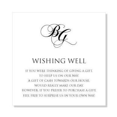 Wedding Wishing Well Wording For Honeymoon Invitation Sample