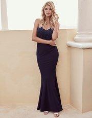 Lipsy Sequin Top Bandeau Fishtail Maxi Dress  - Lipsy