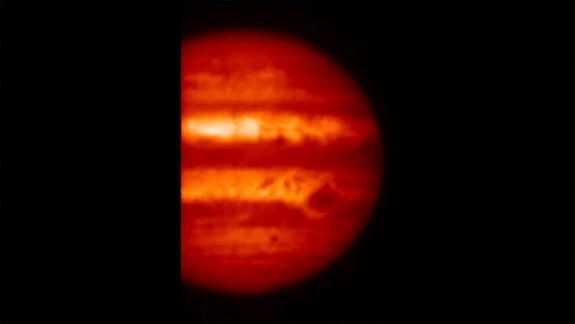 This view of Jupiter in the mid-infrared comes from observations made on Jan. 14 by the Subaru Telescope in Hawaii, penetrating to the planet's troposphere. The telescope's Cooled Mid-Infrared Camera and Spectrometer (COMICS) captured the images.